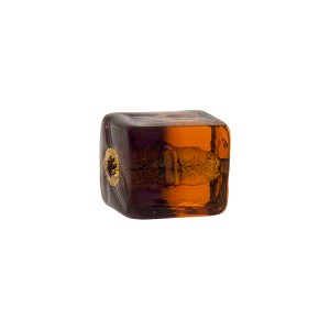 Topaz Amethyst Gold Foil Bicolor Cube 12mm, Murano Glass Bead