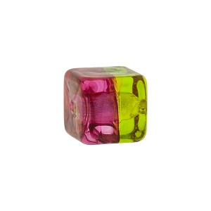 Green Rubino Silver Foil Bicolor Cube 12mm, Murano Glass Bead
