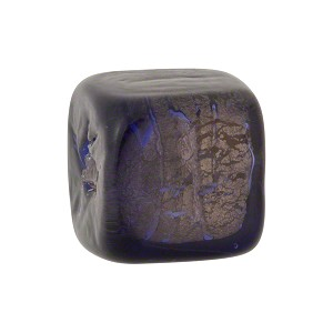 Plum Gold Foil Cube 12x12mm Murano Glass Bead