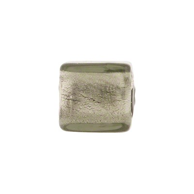 Gray White Gold Foil Cube 12mm Murano Glass Bead