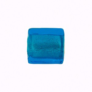 Murano Glass Beads, Acqua White Gold Cube 14mm