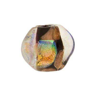 Venetian Bead Dichroic Sparkles Pebble 15mm, Black Gold
