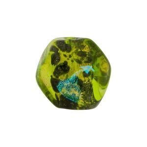 Venetian Bead Dichroic Sparkles Pebble 15mm, Green Gold