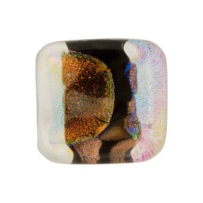 Venetian Bead Dichroic Sparkle 18mm Rectangle, Black Gold