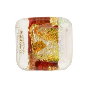Venetian Bead Dichroic Sparkle 18mm Rectangle, Red Gold