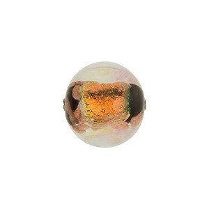 Venetian Bead Dichroic Sparkle 12mm Round, Black Gold