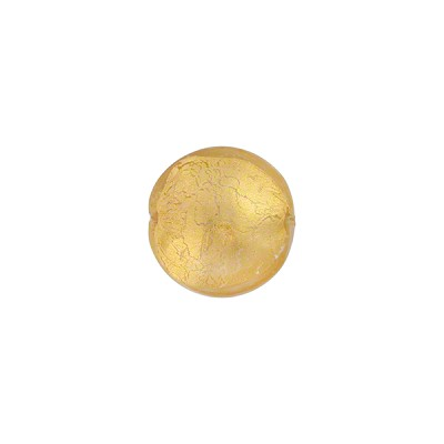 Murano Glass Gold Foil Puffy Disc, 10mm, Crystal