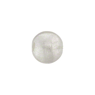 Murano Glass Silver Foil Puffy Disc, 10mm, Crystal