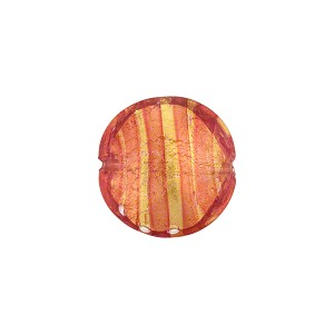 Rubino Striped Gold Foil Murano Glass Lentil 14mm