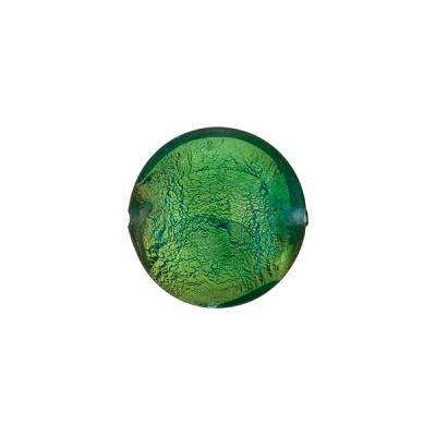 Verde Marino Gold Foil Murano Glass Lentil 14mm