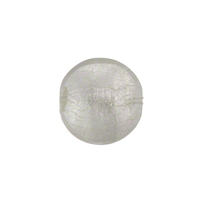 Clear Murano Glass Silver Foil Lentil, 14mm