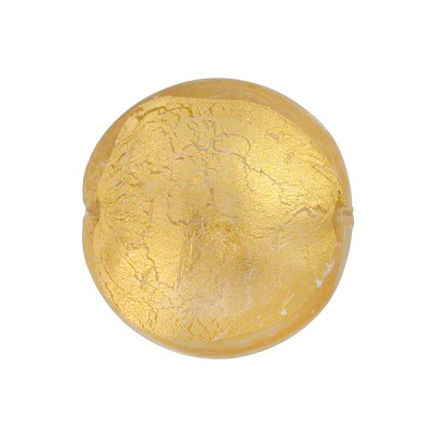 Murano Glass Disc Bead, Clear over 24kt Gold Foil, 18mm