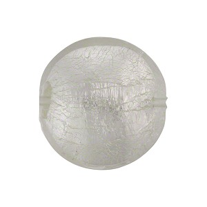 Clear Silver Foil Murano Glass Disc 18mm
