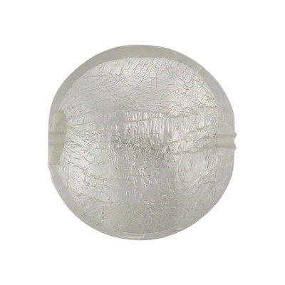 Clear Silver Foil Murano Glass Disc 20mm Lentil