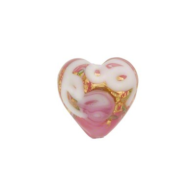 Wedding Cake Heart Bead 13mm Pink, Murano Glass Bead