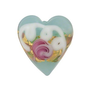 Venetian Bead Wedding Cake Heart 20mm, Pale Aqua