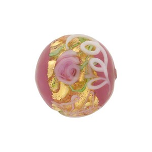 Wedding Cake Round 16mm Pink, Murano Glass Bead
