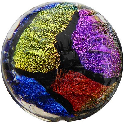 Venetian Glass Bead Dichroic Black Coin 30mm