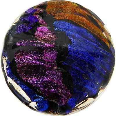 Venetian Glass Bead Dichroic Black Disc 42mm, Multi Dichroic