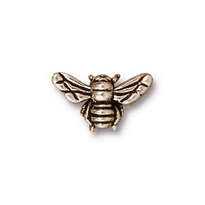 Antiqued Silver Bee Bead Plated Pewter