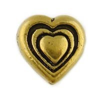 Antiqued 9mm Pewter Heart Bead, Gold Plated, Per Piece
