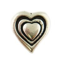 Antiqued 9mm Pewter Heart Bead, Silver Plated, Per Piece