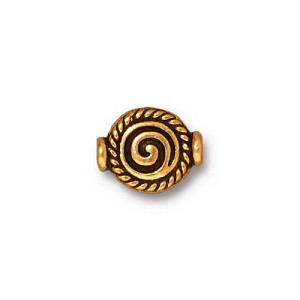 Fancy Scroll 12mm Antique 22kt Gold Plated Pewter Flat Bead