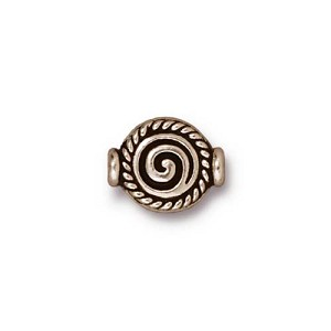 Fancy Scroll 12mm Antique Silver Plated Pewter Flat Bead