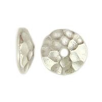 Rhodium Plated Hammertone Beadcap, 8mm, Per Piece