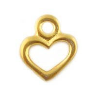 Gold Plated Pewter Heart Charm, 9mm, Per Piece