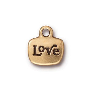 Love Charm Brass Plated Pewter Clear Glue In