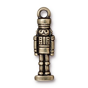 Toy Soldier Charm Brass Plated Pewter
