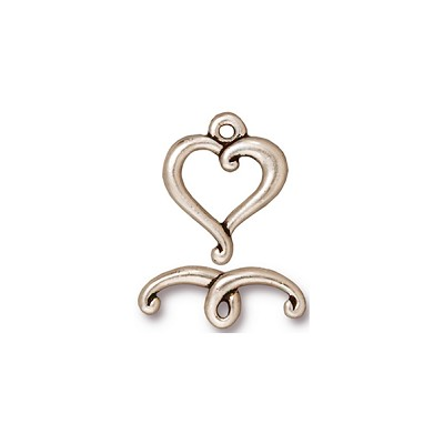 Silver Plated 15mm Pewter Heart Toggle
