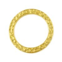Gold Plated Pewter Hammetone Ring, 18mm, Per Piece