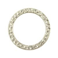Rhodium Plated Pewter Hammetone Ring, 18mm, Per Piece