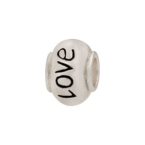 Sterling Silver Large Hole Message Bead, Love, 8mm
