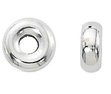 .925 Sterling Silver Smooth Rondelle, 8mm