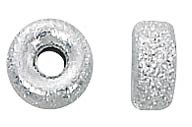 .925 Sterling Silver Sparkle Rondelle, 6mm x 3mm