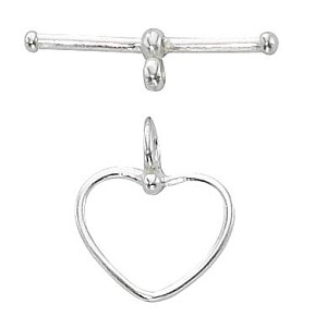 Sterling Silver 14mm Heart Toggle