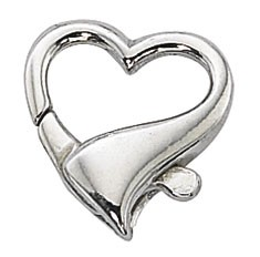 Sterling Silver Heart Shaped Clasp 17.5mm. Per Piece