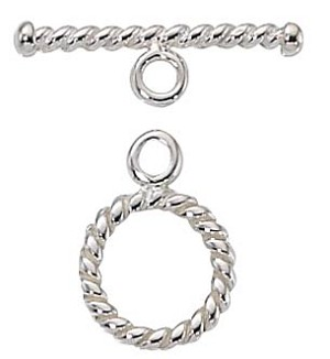 Sterling Silver 11mm Round twist toggle clasp,Per Piece