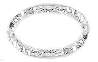 Sterling Silver Hammertone Oval, 25x17mm, Per Piece