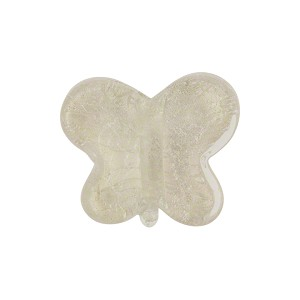 Clear White Gold Butterfly Murano Glass Bead 18mm