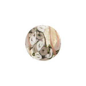 Murano Glass Bead Bed of Roses Round 14mm Gray Lampwork Bead