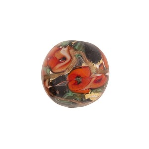 Murano Glass Bead Bed of Roses Round 14mm Black