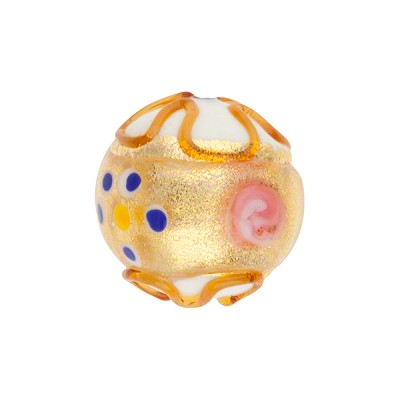 Murano Glass Bead Fiorato Round 16mm White with Gold Exterior