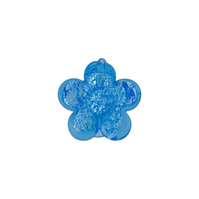 Aqua .925 Silver Foil Flower Bead 15mm Murano Glass
