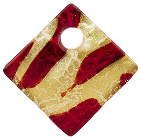 Red & Gold Foil Curved Diagonal Murano Glass Pendant, 30mm