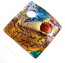 Curved Diagonal Murano Glass Pendant 30mm, Multi-Colored Frit w/Gold Foil
