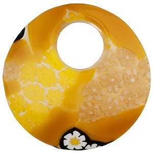 Fused Murano Glass Curved Round Pendant 50mm Mustard and Black Millefiori